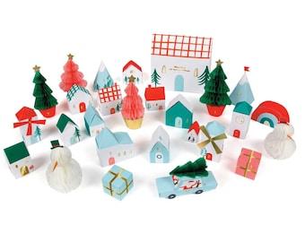 Meri Meri Advent Village, Honeycomb Advent Calendar Kit, Christmas Village, Countdown Calendar, Christmas Advent Boxes, Kids Advent Calendar