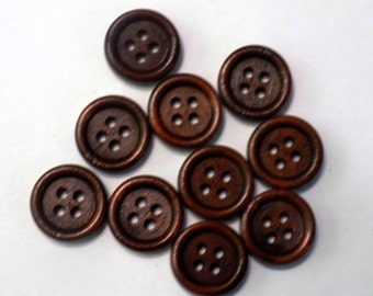 10 mini Brown Wooden 4 Hole Button - #WS-00065