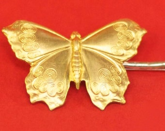 Large Brass Butterfly Hairpin