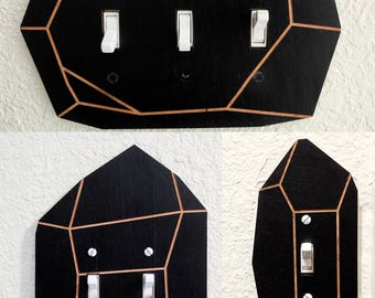 Light Switch Plate Set of 3, Mix and Match, Any Color or Size Crystal Gemstone Shape Triple Lightswitch cover, wall plate, outlet cover