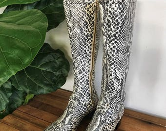 60s Python Knee High Boots