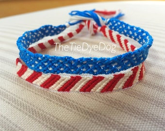 USA Patriotic Red, White, and Blue Set of 2 Woven Friendship Bracelets - Military