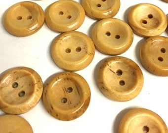 10 round wood buttons, light wooden buttons, wood buttons, pine buttons, craft buttons, haberdashery, coat buttons, sewing buttons