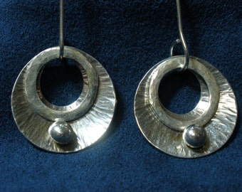 Sterling Silver Hanging Textured Disk Earrings