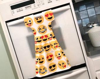Emoji Kitchen Towel Dress, Hanging Dish Towel, Tea Towel, Dishtowel Dress in Yellow and White, Hostess Gift, Kitchen Decor by Klosti
