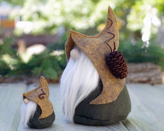 SET of Nordic Gnomes Mini and Large Gnome, LORE, Scandinavian Gifts, Elf, Elves, Woodland, Rustic, Gnome Home, Large Gnome, Felt Gnomes