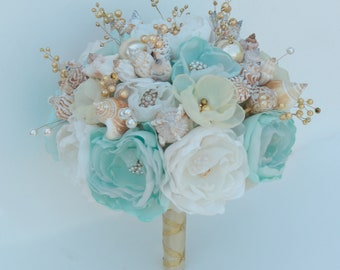 Seashells Bouquet.  Light mint-turquoise and gold wedding bouquet. Beach wedding bouquet. Beach wedding accessories