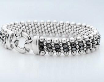 Silver Night - Swarovski Crystals and Sterling Silver Beaded Reversible Bracelet