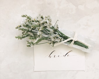 Limited availability: Handmade Paper Place Card & Floral Selenite Bundle // Hand Calligraphy // Organic calligraphy // Healing Crystals