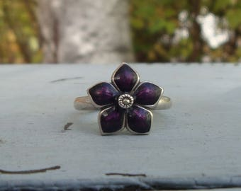 Purple Flower Vintage Sterling Silver Ring