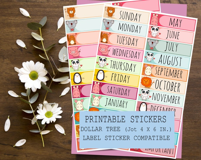 Days of the Week Stickers, Printable Planner Stickers, Bullet Journal, Printable Days of the Week Stickers, Days of the Week Headers Banners