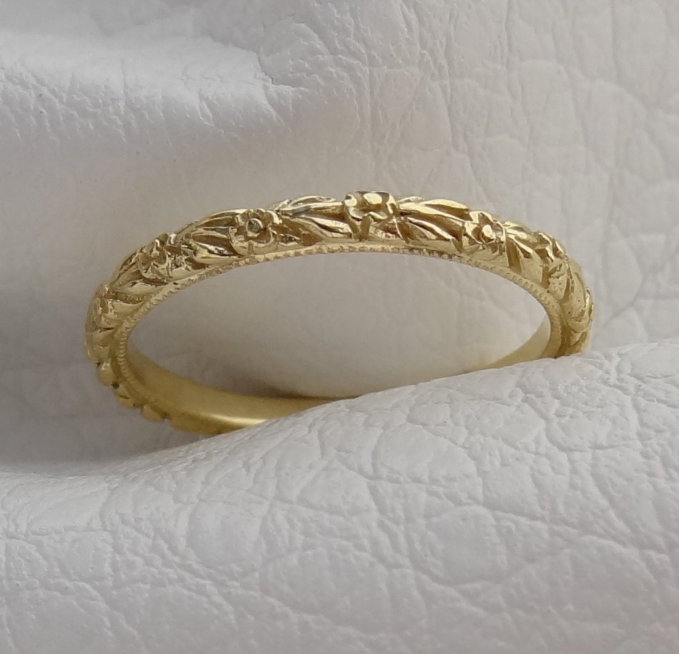 band carved engraving engagement yellow reco il wedding fullxfull scroll hand gemstone leaf art milgrain ring gold rings engraved carving leafs