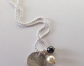 Fine Silver Disc Pendant Cluster Necklace