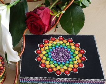 Mandala Chakra Rainbow Jewelry Box - Dot Art - Painted Wood Jewellery Box - Mandala Art - Trinket Box - Unique Gift  - Painted Rock