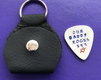 Handmade - Hand stamped  - Guitar pick and case - Keychain
