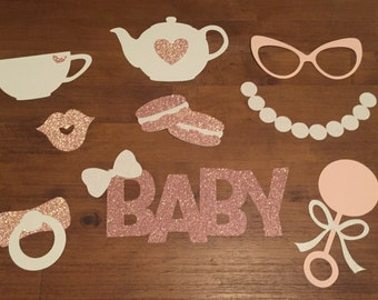 Baby is Brewing Tea Party Baby Shower Photo Booth Props, 9 Piece Set - Brunch Sprinkle Glittery Teacup Teapot Macarons Pearls Centerpieces