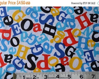 On Sale Item 296, 100% Cotton, Robery Kaufman, Celebrate Seuss, By the Yard, Red Blue Yellow and Black Alphbet