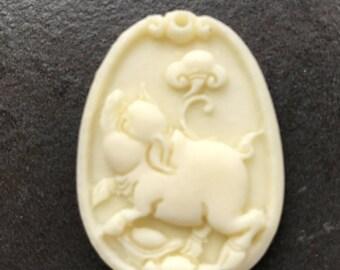 Amazing 1 Piece carved Reconstituted bone Pig pendant bead BC1S582