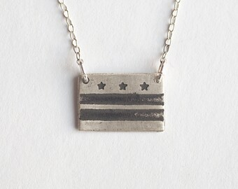 Washington DC - DC Necklace - State Flag - State Necklace - State Jewelry - Washington Jewelry - Washington DC Art - American Flag