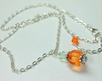Pumpkin Halloween Necklace, Orange Pumpkin Necklace, Fall/Autumn Pumpkin Jewelry, Beaded Halloween Crystal Necklace