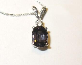 SALE!  Blue - Purple Spinel Pendant Necklace - Genuine Natural Gemstone in Sterling Silver