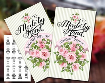 Printable Laundry Care Tags - Rose Bouquet - 3.5 x 2 inches - DIY on Business Card Paper - Beautiful Typography