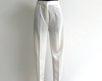 80s White Stirrup Pants High Rise Pants Shiny 1980s Minimal Riding Pants White Tapered Leg Stirrup Pants Leg Pants Size Small