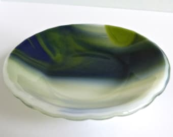 Fused Glass Dish in Blue, Green and White by BPR Designs