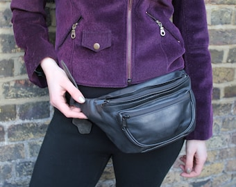3-compartment Bumbag or fannypack or fannybag in black leather three
