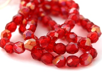 Twilight Siam Ruby 6mm Facet Round Czech Glass Fire Polished Beads #1573