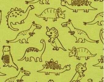 Dinosaur Outlines on Grass Green from Robert Kaufman's Dinoroar Collection by Sea Urchin Studios