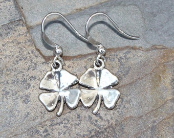 Shamrock Earrings, Four Leaf Clover Earrings, Sterling Silver Earrings, March Earrings, Dangly Earrings, Classic Earrings, Handmade Earrings