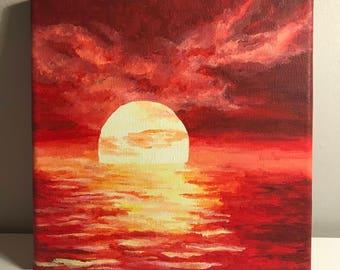 Acrylic Sunset Painting on Canvas