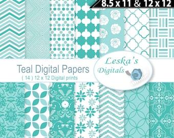Teal Digital paper pack, Teal scrapbook paper, Teal digital backgrounds, instant download teal digital paper, teal damask, teal chevron