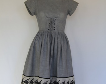 1950's brown gingham day dress