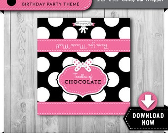 Minnie Mouse Candy Bar Wrapper, Minnie  Mouse Candy Wrappers, Minnie Mouse Favor Labels