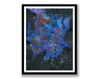 Abstract nebular space, Watercolor & gouache painting. painting can be mounted and wall ready.cloud, sci-fi, stars  wall art, desk art
