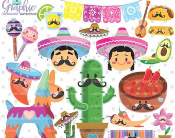 Mexican Clipart, Mexican Graphics, COMMERCIAL USE, Kawaii Clipart, Mexican Party, Planner Accessories, 5 de Mayo, Festive 5 de Mayo