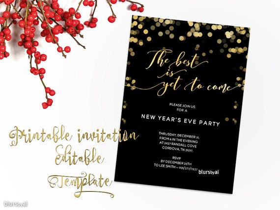 New years invitation template printable new year party new years invitation template printable new year party invitation template new years eve editable template for word black gold invite stopboris Image collections