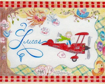 Birth Announcement Watercolor Pencil Drawing ~ Personalized ~ Original~ Themed Art:  Time~in~the~Studio Reservation