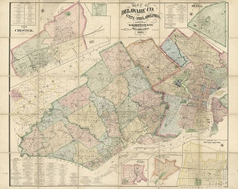 Map of Delaware Co. and the city of Philadelphia, Pennsylvania, PA 1876. Home Deco Style Old Wall Vintage Giclee Reproduction.