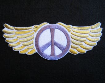 Embroidered Winged Peace Sign Iron On Patch, Iron On Patch, Peace Sign, Winged Peace Sign, Hippie Patch, Hippies