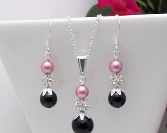 Spring SALE Bridesmaid Jewelry set • Pink & Black earrings • Silver earrings • Necklace and earrings set • Bridesmaid earrings •