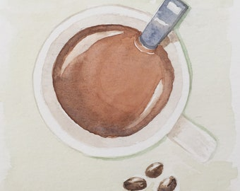 Cup of Joe, watercolor, original, small painting, coffee