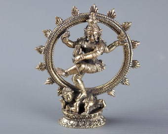 "Small Minature Shiva Statue - Thailand Brass Dancing Shiva statue as Lord Nataraja - 7.5cm(3"") Tall"