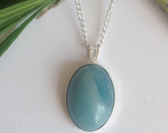 Sterling silver pendant, gemstone pendant, Sterling silver necklace, amazonite necklace