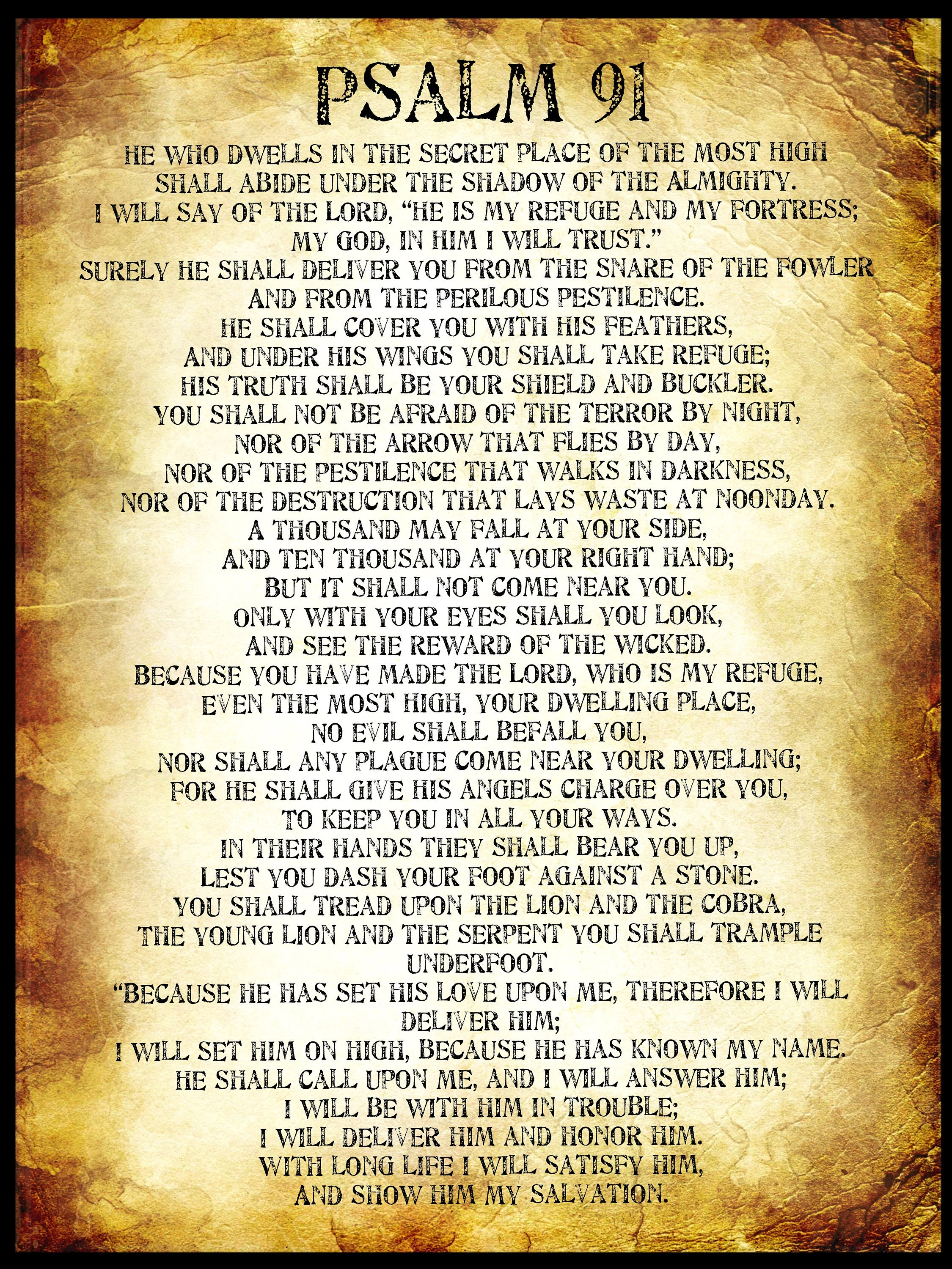 Home Made Wall Decor Psalm 91 Poster Gold Psalm 91 Pdf Large A1 Bible Poster