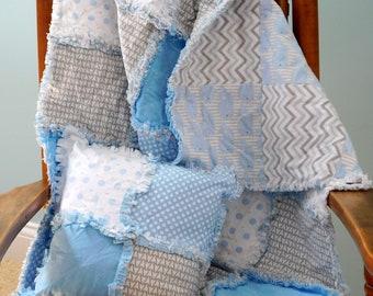 Baby Boy Quilt, Baby Rag Quilt, Animal Baby Quilt, Whale Baby Bedding, Handmade Baby Quilt, Baby Boy Rag Quilt, Cotton Baby Blanket,