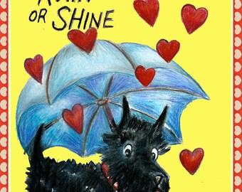 Rain or Shine Scottish Terrier Valentine
