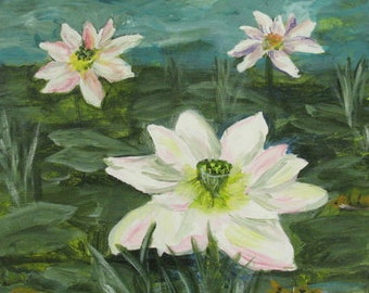 Water Lilies and Fish - Original Painting -  12 x 12inches - by Kate Ladd